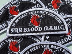 I think these Blood Magic patches are the perfect shape for the shoulder of my jacket! Blood Mage, Baby Witch, Supernatural Beings, Dragon Age Inquisition, Wicca, Character Inspiration, Patches, Dots, Magic
