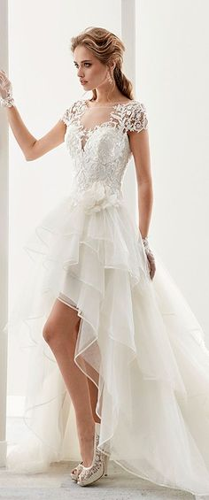 Attractive Tulle & Satin Bateau Neckline A-Line Hi-Lo Wedding Dresses With Lace Appliques