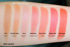 MAC Lipsticks swatches (Siss, Freckle Tone, Hue, Ravishing, Sushi Kiss, Vegas Volt, Morange)
