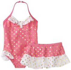 Amazon.com: Baby Bunz Girls Infant Foil Dot Swimsuit With Skirt: Clothing
