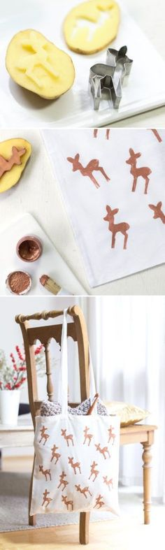 Anyone can use a Bambi bag! Quick gift with potato print - DIY - for holidays . the beautiful life - Copper Bambi! DIY Bambi bag with potato print, quick gifts homemade Copper Bambi! Potato Print, Potato Stamp, Diy Bags Purses, Diy Purse, Diy Christmas Decorations Easy, Christmas Crafts, Diy Decoration, Decor Ideas, Decorating Ideas