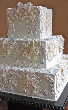 fancy wedding cakes Gorgeous Wedding Cake By Jim Smeal - (weddingcakesbyjimsmeal) I had lace like this on my wedding dress. Fancy Wedding Cakes, Square Wedding Cakes, Beautiful Wedding Cakes, Gorgeous Cakes, Wedding Cake Designs, Fancy Cakes, Pretty Cakes, Purple Wedding, Gold Wedding