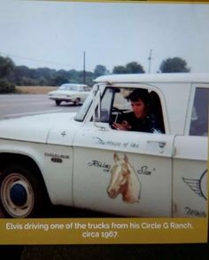 """Elvis driving his Circle G Ranch truck. The horse barn was named """"House of the Rising Sun"""" after his horse """"Rising Sun."""""""