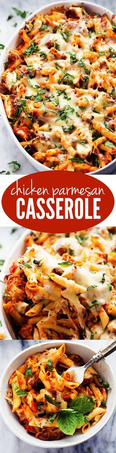 All of the goodness of chicken parmesan packed into a delicious cheesy casserole! Crispy chicken, marinara sauce, penne pasta, and cheese come together in this easy to make dish!: