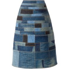 Junya Watanabe Comme Des Garçons patchwork denim skirt ($1,340) via Polyvore…