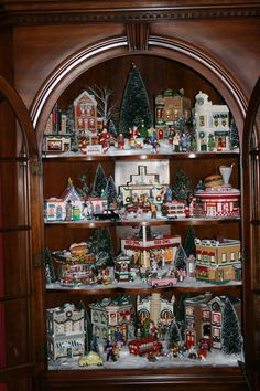 Let is Snow.Let is Snow Village!thinking of setting up my Christmas village in my curio cabinet this year. Miniature Christmas, Cozy Christmas, Primitive Christmas, Vintage Christmas, Christmas Holidays, Celebrating Christmas, Beautiful Christmas, Christmas Village Display, Christmas Villages