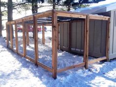 Custom chicken coop - cedar with 1x2 wire and vinyl coated black chain link roof