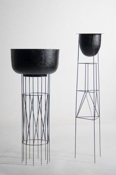 Contemporary plant stand by Charlotte Talbot incorporates delicate sculptural bases.