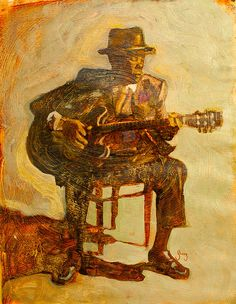 My John Lee Hooker painting. Found this on a Romanian blog! Gotta love the internet.