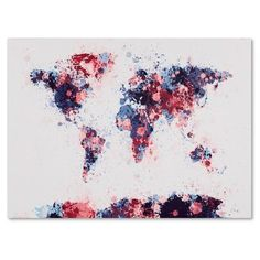 Trademark Art 'Paint Splashes World Map 3' by Michael Thompsett Painting Print on Canvas Size: