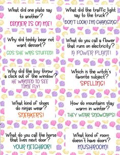 Brighten your child's day with these 30 FREE Lunch Box Jokes For Kids! Bright and colorful lunch box notes that are funny! Print as many copies as you like! Kids Lunch Box Notes, Kids Notes, Kids Lunch For School, Funny Jokes And Riddles, Funny Jokes For Kids, Funny Lunch Boxes, Games For Kids, Activities For Kids, Bonding Activities