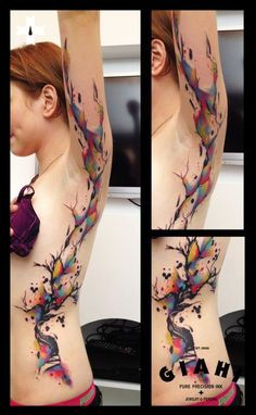 Tree in colored flames. Done at Giahi Tattoo & Piercing, Löwenstrasse 22 By Live Two