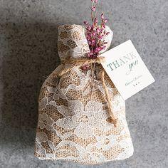 Rustic Chic Burlap and Lace Drawstring Favor Bag