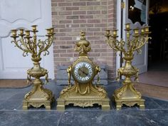 Napoleon III huge bronze gilded clockset from 1880 in good condition. Discover more beautiful items from Johan Doomen's collection, a professional Belgian antique dealer, on Transferantique. Clock, Bronze, Antiques, Beautiful, Collection, Things To Sell, Home Decor, Watch