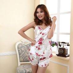 1 Set Fashion Women s Sexy Pajamas Set Blouse Shirt + Shorts Underwear  Sleepwear Print Sleeveless Pajamas 49b3b4022