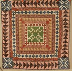 MUSEUM QUALITY 1840's Vintage Medallion Flying Geese Sawtooth Antique Quilt Top!