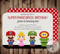 Mario Birthday Invitation Super Mario Brothers by T3DesignsCo, $12.99