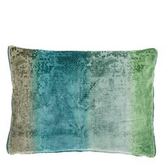 Designers Guild Aqua Santafiora Cushion: From British based interior design and fabric house Designers Guild, this luxurious velvet cushion is patterned with a small scale mosaic jacquard and combined with a unique ombre striped print in vibrant shades of blue, aqua and lime. This large rectangular Santafiora cushion reverses on the other side to the Grasmere textured weave in midnight blue colour.