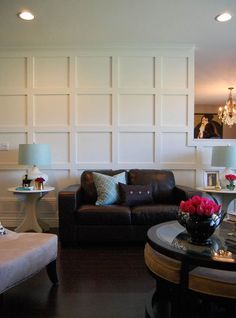 DIY square panel walls with Before and After, and tutorial. via @Nancy Marcus Design