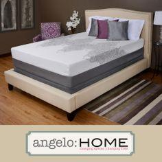 NEW angelo:HOME Medium Firm Memory Foam 13-inch Silver Gray Scroll King-size Mattress | Overstock.com