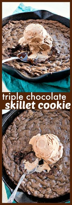 Triple Chocolate Skillet Cookie – Chocolate cookie dough is loaded with chocolate chips, baked in a cast-iron skillet, and then topped with chocolate ice cream and served while the cookie is still warm. Chocolate Marshmallow Cookies, Chocolate Chip Shortbread Cookies, Chocolate Cookie Dough, Chocolate Desserts, Chocolate Chips, Healthy Chocolate, Chocolate Hazelnut, Easy Desserts, Delicious Desserts