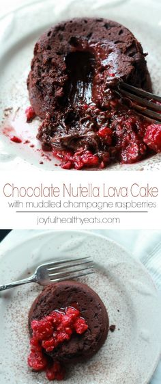 Nutella Chocolate Lava Cake topped with Muddled Champagne Raspberries, a decadent dessert recipe for two! | joyfulhealthyeats.com #recipes #valentinesday