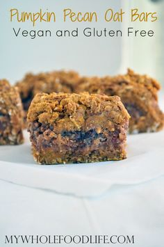 Pumpkin Pecan Date Bars. Yummy pumpkin bars with a scrumptious pecan filling. Vegan and gluten free. No refined sugars.