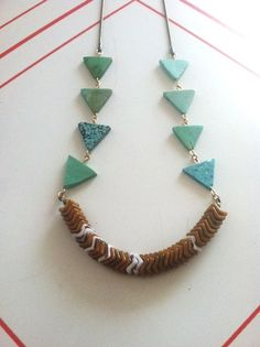 African Snake Bead Necklace with Turquoise Triangle by LauraBusony, $48.00