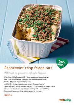 If there's one thing all South Africans LOVE, it's peppermint crisp tart! Quick to make, and even yummier to eat :-)