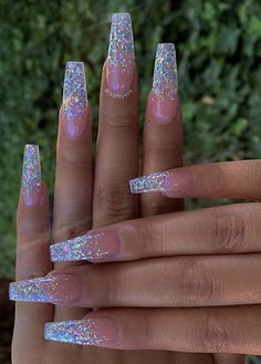 Cute Acrylic Nail Designs, Best Acrylic Nails, Summer Acrylic Nails, Nail Summer, Acrylic Nails With Glitter, Purple Nail Designs, Perfect Nails, Gorgeous Nails, Nagellack Trends