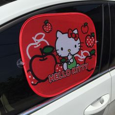 2PCS RED HELLO KITTY Car Sun Shade Windshield Cute Cartoon Rear Side Sunshade Size 44cm*36cmProtect Window Film Car Styling