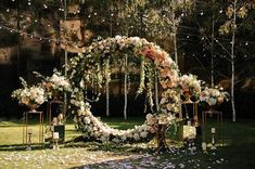 Wedding Round Metal Arch Floral Arch Ceremony Flowers – The Best Ideas Wedding Ceremony Ideas, Rustic Wedding Backdrops, Wedding Altars, Ceremony Arch, Wedding Trends, Backdrop Wedding, Wedding Aisles, Wedding Ceremonies, Wedding Reception