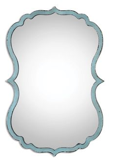 Distressed Antiqued Light Blue Mirror with Dark Bronze Undertones  Click here to purchase: http://www.houzz.com/photos/22152776/lid=10865505/Distressed-Antiqued-Light-Blue-Mirror-with-Dark-Bronze-transitional-mirrors