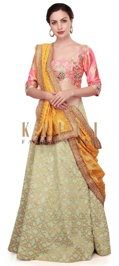 Pista green lehenga featuring in crepe silk weaved in geometric motif. Matched with brocade silk blouse in peach and embellished in floral motif. Green Lehenga, Lehenga Choli, Sari, Floral Motif, Peach, Shades, Draping, Blouse, Collections