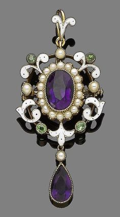 An enamel, pearl and peridot brooch/pendant  The openwork plaque set to the centre with an oval-cut amethyst, within a white and black enamel scrolling surround, highlighted with half pearls and circular-cut peridots, suspending a pear-shaped amethyst drop, length 5.2cm
