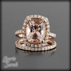 Rose Gold Morganite Engagement Ring Set with Prong Set Diamond Wedding Band - LS2724. $2,962.50, via Etsy. Psh I wish