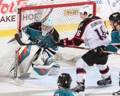 Worcester Sharks goaltender Harri Sateri makes a save (Dec. 13, 2013).