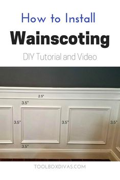 DIY Wainscoting video and tutorial.DIY Wall treatment for dining room, stairs, and bathroom. How to Install Picture Frame Moulding Wainscoting. Inexpensive DIY wainscoting idea solution to glam up any space. Determine wainscoting height and width. Installing Wainscoting, Wainscoting Wall, Wainscoting Height, Dining Room Wainscoting, Wainscoting Styles, Wall Molding, Dining Room Walls, Dining Room Design, Diy Wainscotting