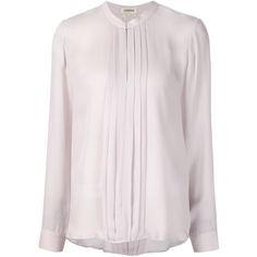 L'agence front pleat blouse (€300) ❤ liked on Polyvore featuring tops, blouses, silk blouses, pink blouse, pink silk blouse, pink silk top and l agence tops