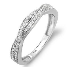 0.25 Carat (ctw) 10K White Gold Round Diamond Anniversary Wedding Band Swirl Matching Ring 1/4 CT Wedding Ring Finger REVIEW