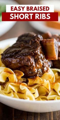 These Easy Short Ribs are fall-off-the-bone tender, decadently rich, and such a show stopper.