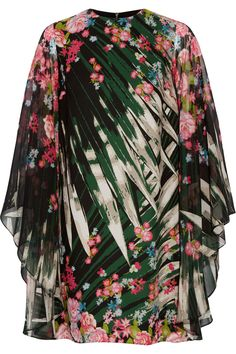 Elie Saab | Printed silk-georgette mini dress | NET-A-PORTER.COM