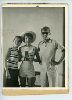 Jackie Kennedy Onassis, mirror selfie with Jack and his sister-in-law Ethel, taken in 1954.