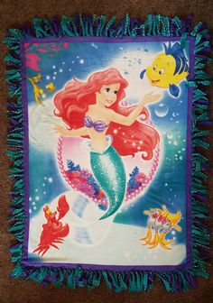 Ariel The Little Mermaid and Friends Fleece Tie Blanket by BetsysItsyEtsy on Etsy