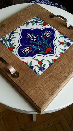 Tile Crafts, Diy Home Crafts, Wooden Crafts, Handmade Crafts, Arts And Crafts, Tile Art, Mosaic Art, Ceramic Painting, Painting On Wood