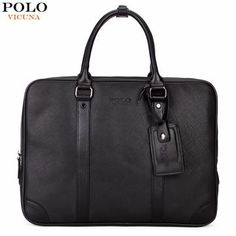 1a398b011f VICUNA POLO Casual Business Man Handbag Laptop Bags Brand Leather Men  Briefcase Solid Simple Men s Shoulder