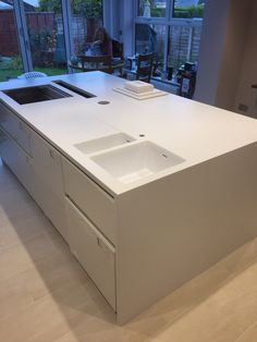 Corin worktops from bluestone Bathroom Countertops, Stone Countertops, Corian Solid Surface, Retail Counter, Dental Laboratory, Kitchen Worktop, Reception Areas, Work Tops, Living Room Kitchen