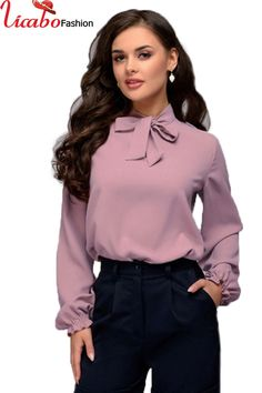 Women Long Sleeve Pussy-bow T-shirt Casual Blouse Ladies OL Work Tee Shirts Tops Cheap Womens Tops, Womens Trendy Tops, Blouse Vintage, Vintage Tops, Casual Skirt Outfits, Ladies Dress Design, Blouse Designs, Blouses For Women, Ideias Fashion