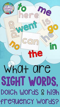 What are sight words, Dolch words and high-frequency words? #teaching #iteachtoo #reading #kindergarten #education #earlyyears