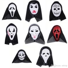 masks for masquerade party, masks for masquerade prom and masks for masquerades are wholesaled here. All the products are frees shipping from China. halloween costume party long face skull ghost scary scream mask face hood scary horror terrible mask with hood 0708017 which provided by szloop can be discount.